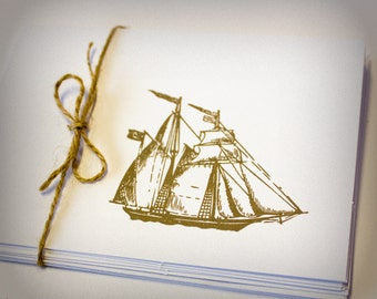 Clipper Ship Nautical Blank Cards Folded Set of 5 white brown hand stamped teacher gift with envelopes pirate boat sea masculine for men