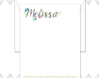 Custom Floral stationery set of 10 cards & envelopes, Spring stationery, garden stationery, floral stationery, modern flower notecards