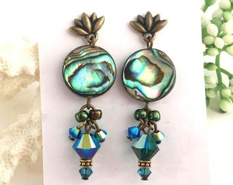Abalone Shell and Swarovski Crystal Dangle Earrings