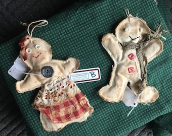 3-D GINGERBREAD ORNAMENTS Primitive Tie-Dyed, Lot B