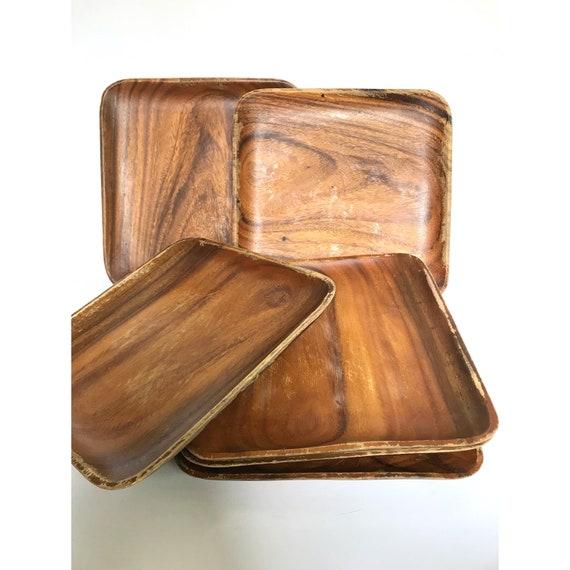 Large Square Plates -- Square Wood Plates -- Wood Square Plates -- Large Wood Square Plates -- Wooden Plates -- Set of Six Plates  sc 1 st  Etsy & Large Square Plates Square Wood Plates Wood Square