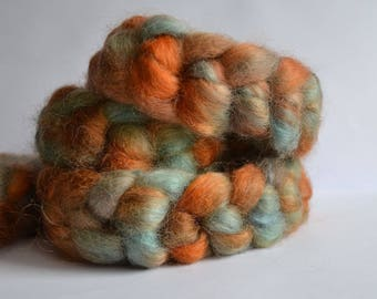 Hand dyed Wensleydale wool top/roving 200 grams/7.05 ounces; Ready to ship!