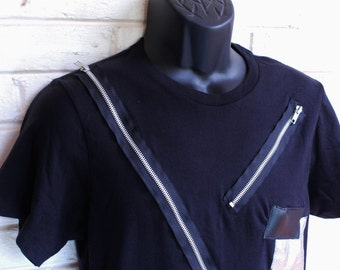 Zipped and Patched Up T-Shirt