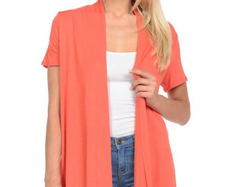 Short Sleeve Open Front Vest Coral