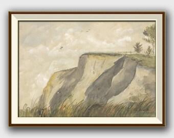 PRINT- Cliffs seascape - sea gulls sea birds- Beach home decoration, seascape art wall -beach art watercolor- Art Print by Juan Bosco