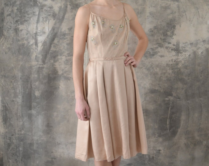 1950s Blush Satin Dress size M