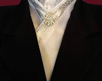 Silver and White Stock Tie