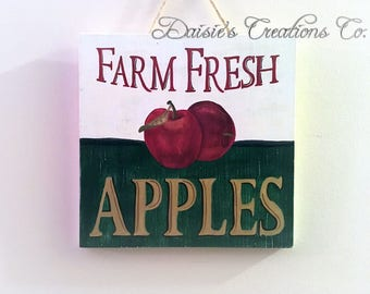 Farm Fresh Apples // Wood Sign // Wood Wall Hanging // Hand Painted