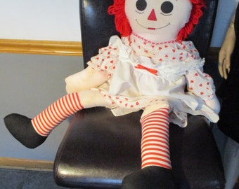 """35"""" Raggedy Ann Doll Hand-Made Hatfield's Craft Dressed in Hearts with I Love You Heart Chest"""