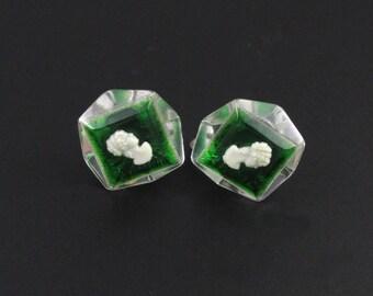 Lucite Cameo Earrings, Cameo Earrings, Green Earrings, Lucite Earrings