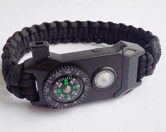 Kit of survival Paracord compass bracelet, lamp, whistle, turn on fire