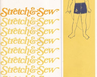Stretch and Sew 1225 Vintage Pattern Boys Swim Trunks Size 2,4,6,8,10,12 UNCUT