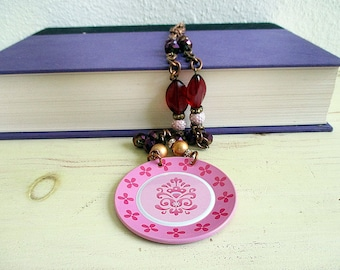 Statement Necklace, Pink and White, Purple, Red, Violet, Tin Necklace, One of a Kind, Handmade