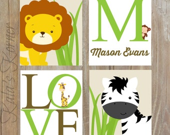 JUNGLE NURSERY ART - Safari Nursery art, Jungle Nursery decor, Custom Baby Name, Playroom art, Playroom wall art, Safari art, jungle art