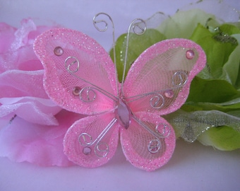 """100 pieces, 3"""" Pink Nylon Butterflies for Baby Shower, Wedding Decor, Flower Arrangement, Table Scatters, Christening Favors"""