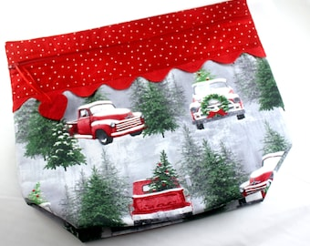 Big Bottom Snow Red Truck Cross Stitch, Embroidery Project Bag