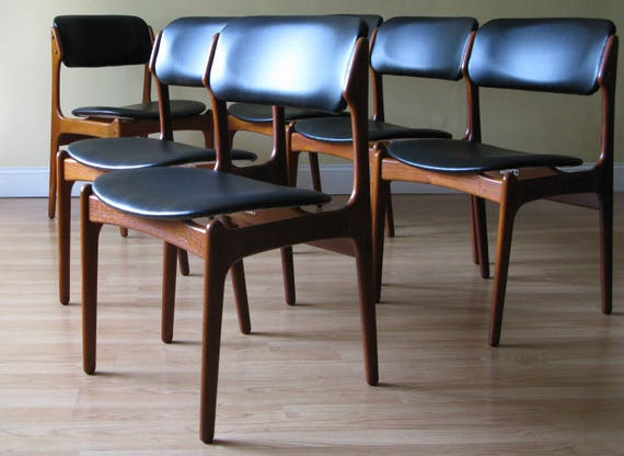 Set of Six Erik Buch Teak Dining Side Chairs by OD Mobler