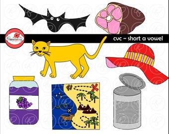 CVC Short A Vowel Clipart: Digital Image Set (300 dpi) School Teacher Clip Art Early Reading Picture Alphabet
