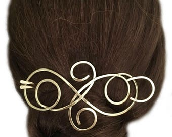Brass Hair Barrette Gold Bun Holder Long Hair Clip Gold Hair Fork U Shaped Hair Pin Hair Slide Long Hair Accessory