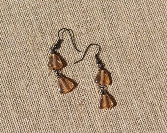 Thanksgiving-Fall-Autumn-Yellow Iridescent Pressed Glass Gunmetal Dangle Earrings