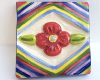 Handmade Ceramic Tile, Art Tile, Wall Decoration, Flower Tile, Colorful Tile