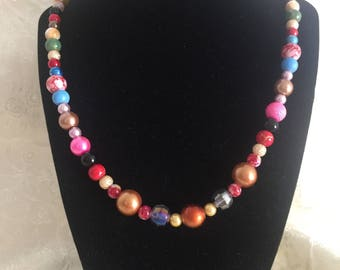One of a Kind Multi Color Beaded Necklace