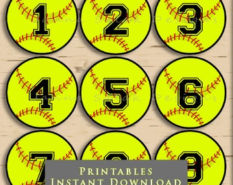 """2.5"""" Softball Printable Cupcake Toppers Tags With Editable Numbers DIY INSTANT DOWNLOAD Pdf"""