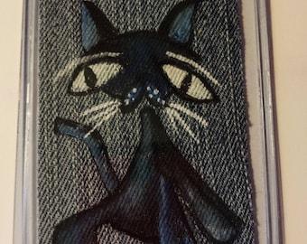 El Gato, ACEO Painting on Denim