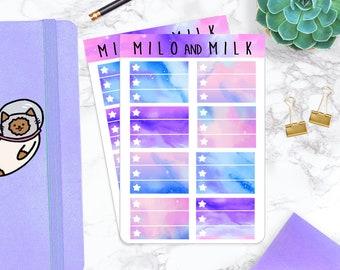 8 Half Box Checklist Space, Galaxy, Nebula Stickers | Planner Stickers |