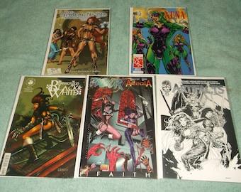 sci-fi comics-warrior nun-lot of 5-1990-GD