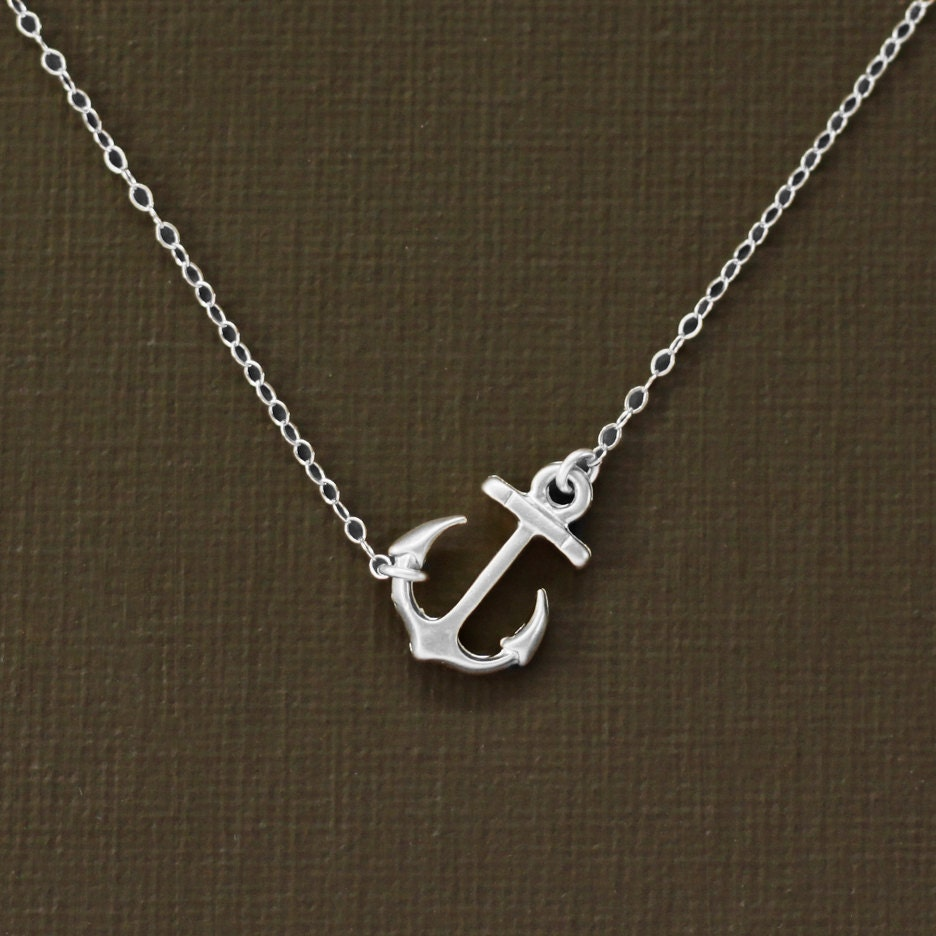 Silver anchor necklace sterling silver chain zoom aloadofball Images
