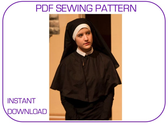 Postulant nun costume PDF sewing pattern veil and capelet.