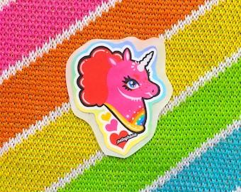 Glossy Pink Unicorn Art Sticker