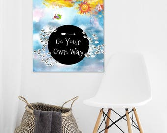 Go Your Own Way, Printable outdoor adventure wall art, inspirational Quote, birds wildlife nursery decor, positive quote, jpg 20x24 poster