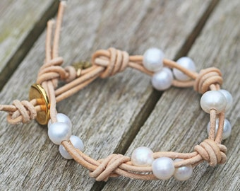 Natural Leather Pearl Knotted Wrap Bracelet Birthday Gift