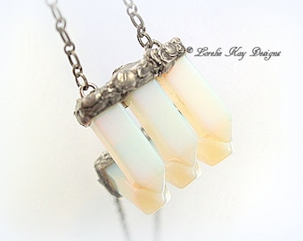 Opalite Soldered Crystal Necklace  Everyday Necklace Pointed Crystal Pendant Lorelie kay designs