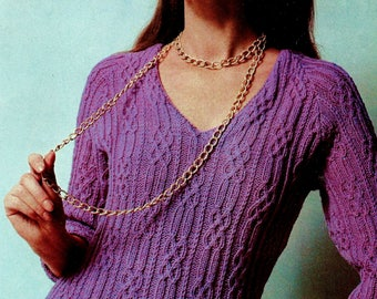 All-Over Cables Sweater Vintage Knitting Pattern Instant Download