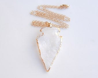 Arrowhead Quartz Necklace in Gold - OOAK Jewelry