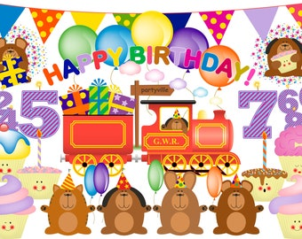 Birthday Clipart, birthday clip art, cupcake clipart, birthday numbers, train clipart, balloon clipart, bunting, birthday party, cupcake