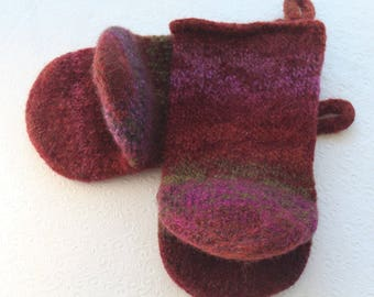 Burgundy Red Knit Felted Wool Oven Mitt Set, Purple Red Green Knit Felted Oven Mitts Wool Oven Glove Set, Hostess Gifts, Kitchen Gift