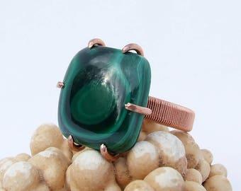 Malachite Ring, copper prong set natural green stone, size 8.5