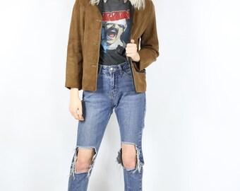 Brown Suede and Black Leather Blazer Jacket - Vintage Light Weight Coat