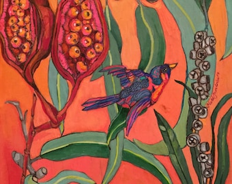 Botanical native fora and bird is from the australian native series.