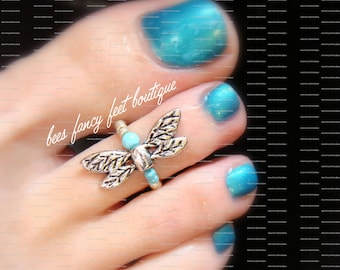 Dragonfly Toe Ring, Silver Toe Ring, Turquoise Stone Ring, Stretch Bead Toe Ring