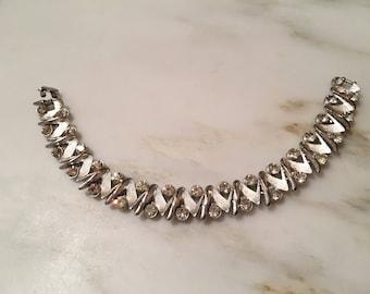 Vintage Crown Trifari silver tone rhinestone zig zag bracelet