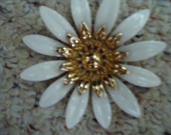 Vintage Large White Flower Metal Brooch