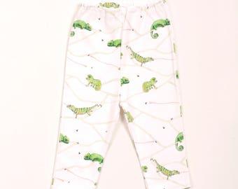 Organic chameleon baby leggings, chameleon baby pants, chameleon baby clothes