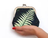 Green fern coin & card purse, bracken frond pouch, woodland branch