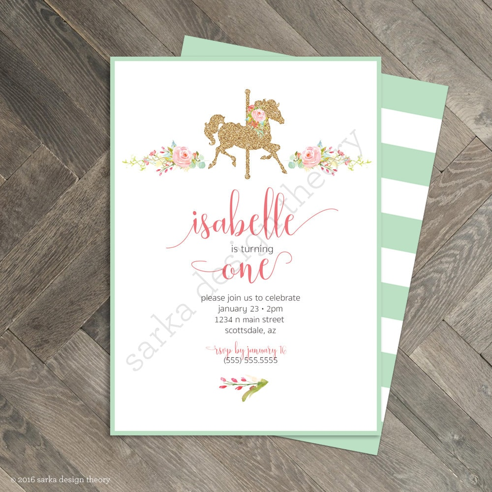 Printable Carousel Birthday Party Invitation Pastel