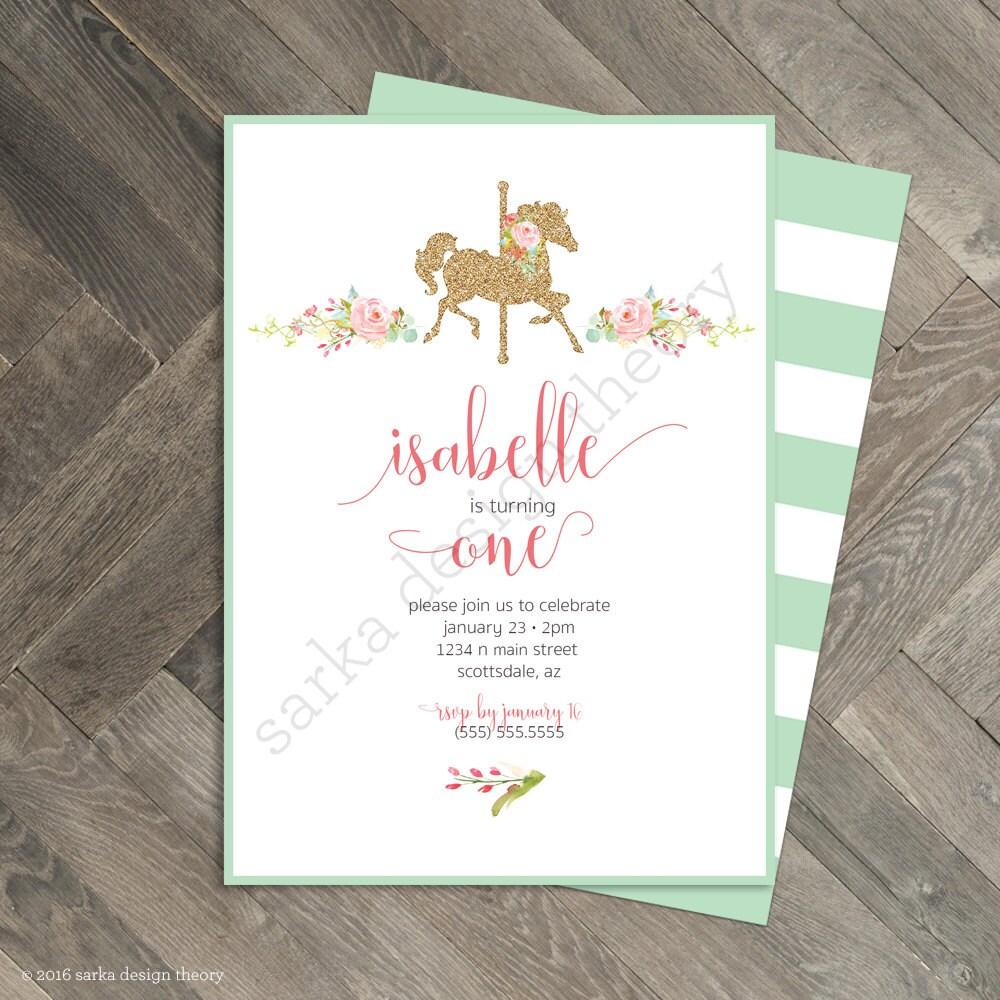 Printable Carousel Birthday Party Invitation Pastel